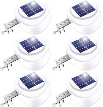 3: Solar Gutter Lights, Outdoor 9 LED Fence Light