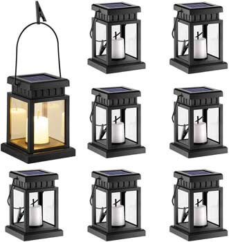 10: GIGALUMI 8 Pack Solar Hanging Lantern Outdoor, Candle Effect Light