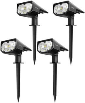7: LITOM 12 LEDs Solar Landscape Spotlights, IP67 Waterproof Solar Powered Wall Lights