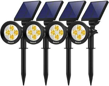 7: Nekteck 4 Pack Solar Lights, 2-in-1 Outdoor Solar Spotlights