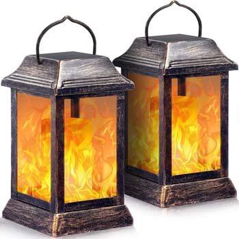4: TomCare Solar lights Metal Flickering Flame Solar Lantern