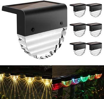 8: Melunar Solar Deck Lights, 6 Pack Solar Step Lights Outdoor Waterproof LED Solar Fence Lights