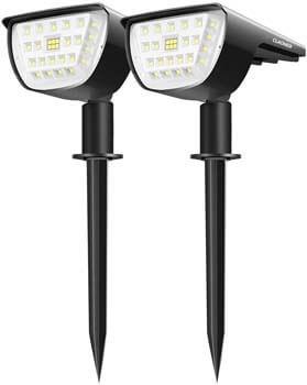 9: Claoner 32 LED Solar Landscape Spotlights